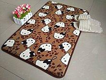 WXDD Coral samt Halle Wolldecke rechteckige Wohnzimmer Küche Badezimmer Wasserbad mat mat Mat, 50 * 80 cm angepasst werden können, Kaffee meow