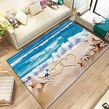 WXDD Mediterranen Stil 3D Teppich Wohnzimmer Sofa