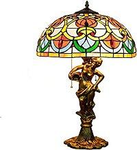 WXHN Tischlampe breit Buntglasplatte Home Decor