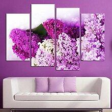WXHYW 4 Panels Die lila HD Leinwanddruck Malerei