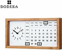 WXIN Mute Kalender Wanduhr Tisch Rechteckig