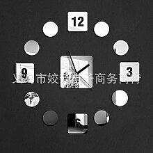 WXIN Spiegeluhr / Schlafzimmer / Spiegeluhr Wanduhr Digital Silent Wanduhr / Silber