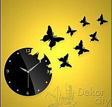 WXIN Wanduhr Schmetterling Uhr Mirror Wall Mount Clock Schwarz