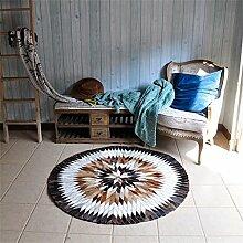 WXP-Teppiche und Decken / Teppiche American Style Rindsleder Runde Teppich Schlafzimmer Nachttisch Wohnzimmer Couchtisch Sofa Korb Computer Stuhl Manuelle Stitching Teppich Hausteppich-WXP ( größe : 160*160cm )