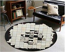 WXP-Teppiche und Decken / Teppiche American Style Rindsleder Runde Teppich Schlafzimmer Nachttisch Wohnzimmer Couchtisch Sofa Korb Computer Stuhl Manuelle Teppich Hausteppich-WXP ( größe : Diameter120cm )