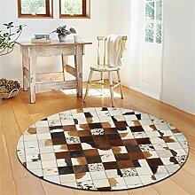 WXP-Teppiche und Decken / Teppiche American Style Rindsleder Runde Teppich Schlafzimmer Nachttisch Wohnzimmer Couchtisch Sofa Korb Computer Stuhl Manuelle Teppich Hausteppich-WXP ( Farbe : B , größe : Diameter150cm )