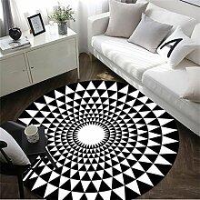 WXP-Teppiche und Decken / Teppiche European Style Schwarz-Weiß-Runde Teppich Wohnzimmer Schlafzimmer Bedside Big Teppich Cartoon Computer Stuhl Mat Hausteppich-WXP ( Farbe : Schwarz , größe : Diameter 100cm )