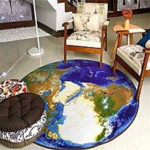 WXP-Teppiche und Decken / Teppiche Mode Creative 3D Earth Runder Teppich Eingang Stuhl Studie Computer Stuhl Teppich Rutschfeste Matte Hausteppich-WXP ( größe : Diameter 160cm )