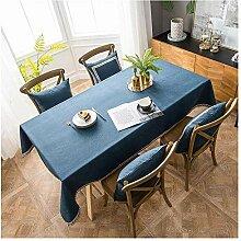 WXWYGNY Blau Baumwolltuch Tischdecke, 125x220cm,