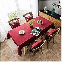 WXWYGNY rot Baumwolltuch Tischdecke, 125x200cm,
