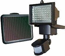 WYBAN Strahler Solar Fluter 90 LEDs SMD Außenleuchte Flutlicht Solarleuchte mit PIR Bewegungsmelder Wasserdicht Aluminiumkörper Schwarz, Einstellbare Verzögerungszeit und Helligkeit und Sensorbereich