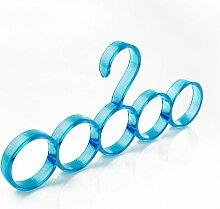 WYHYDCG 10 Stück,Nordic Kreis Schals Rack Multi Aufhänger Rack Tie Rack Gürtel Rack Schals , 5 rings of blue