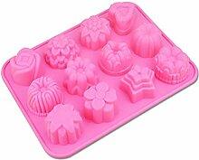 WYNYX 12 Löcher 3D Silikon Schokoladenkuchen