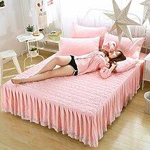 WYQLZ Baumwoll-Tagesdecken Bett-Rock Einzelstück-Lace-Bett-Bettwäsche Staubdicht Anti-Rutsch-Schutz-Bett-Abdeckung ( Farbe : Pink , größe : 200*220cm )