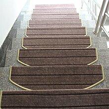 WYQLZ Brown Stripe Treppenhaus Treppenmatten rutschfeste Matten Haus Schlafzimmer Gang Treppenmatten Umweltschutz Teppich ( größe : 24*100cm )