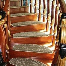 WYQLZ Dick braun Jacquard Treppe Treppenmatten rutschfeste Matten Haus Schlafzimmer Gang Treppenmatten Umweltschutz Teppich ( größe : 24*90cm )