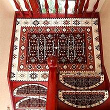 WYQLZ Europäische braune Treppe Schrittmatten rutschfeste Matten Haus Schlafzimmer Gang Treppenmatten Umweltschutz Teppich ( größe : B-120*120CM )