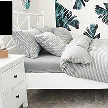 WYQLZ Grau Streifen Modern Einfache 100% Baumwolle Quilt Abdeckung Einzelstück Stricken Doppelte Quilt Abdeckung Herbst und Winter Heimtextilien ( größe : 200*230cm )