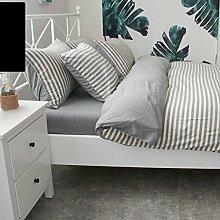 WYQLZ Grau Streifen Modern Einfache 100% Baumwolle Quilt Abdeckung Einzelstück Stricken Doppelte Quilt Abdeckung Herbst und Winter Heimtextilien ( größe : 180*220cm )