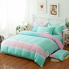 WYQLZ Green Pink Pattern Heimtextilien Quilt Cover Einzelstück Cotton Student Single Double Quilt Cover ( größe : 160*210cm )