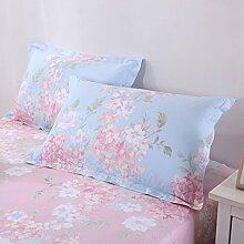 WYQLZ Heimtextilien Baumwolle Blau Blumenmuster Kissenbezug Einfache Mode Dicker Kissenbezug 48X74 cm