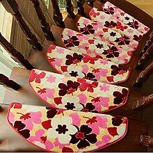 WYQLZ Hirten-Stil Pfirsich-Muster Treppenstufen Matrizen rutschfeste Matten Haus Schlafzimmer Gang Treppenmatten Umweltschutz Teppich ( größe : 24*65cm )