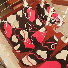 WYQLZ Moderne niedliche herzförmige Muster Treppe Schrittmatten rutschfeste Matten Haus Schlafzimmer Gang Treppenmatten Umweltschutz Teppich ( größe : 24*100cm )