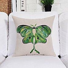 WYQLZ Pastoralen Stil Halten Kissen Aquarell Pflanze Verdickung Baumwolle Und Leinen Home Office Sofa Dekoration Kissen ( Kapazität : Including pillow core , größe : 53*53cm )