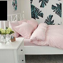 WYQLZ Pink Modern Einfache 100% Baumwolle Quilt Cover Single Piece Stricken Double Quilt Cover Herbst und Winter Heimtextilien ( größe : 180*220cm )