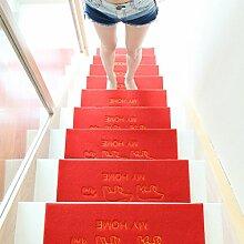 WYQLZ Red Home Treppenhaus Stiefel Matte rutschfest Umweltschutz Teppich 4 Stück Set ( Farbe : A , größe : 75*24.5cm )