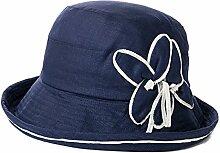 WYYY Hüte Frau Visier Leinen Zusammenklappbar Atmungsaktiv Sonnenschutz UV-Schutz Im Freien 56-58cm ( Farbe : Dunkelblau )