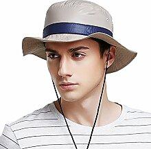 WYYY Hüte Männer Visier Runde Spitze Zusammenklappbar Crimpen Atmungsaktiv Sonnenschutz Im Freien UV-Schutz (Farbe : Khaki)