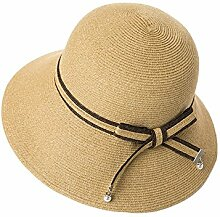 WYYY Hüte Ms. Visier Gehäkelte Zusammenklappbar Papyrus Atmungsaktiv Sonnenschutz Im Freien 56-58cm ( Farbe : Khaki )