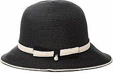 WYYY Hüte Ms. Visier Zusammenklappbar Papyrus Atmungsaktiv Sonnenschutz Im Freien 57cm ( Farbe : Schwarz )
