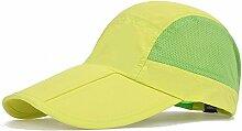 WYYY Hut Dame Sonnenhut Entenschnabelförmigen Kappe Zusammenklappbar Schnell Trocken Atmungsaktiv Sonnenschutz (Farbe : Gelb)