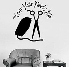 wZUN Wandtattoos Friseur Zitat Ihr Haar braucht
