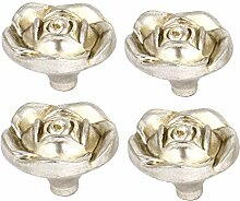 X-DREE Antique Silver Rose Flower Kabinett Kommode