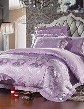 X&L 100% Baumwolle mit Luxus und Komfort Blumen-Jacquard Bettwäsche-Sets, Queen / King-Size , queen