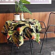 X&L Amerikanische Landschaft Tropische Pflanze Baumwolle Leinwand Tischdecke Tetabellentuch TableCloth für Home-Party Restaurant Hotel , b , 140*180cm