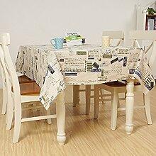 X&L Baumwolle und Leinen Druck Tischdecke staubdichte und ölabweisende Tisch Tetabellentuch Druck blauen Siegel Tischdecke Für Partyhaushalts Bankett Picknick , 140x220cm