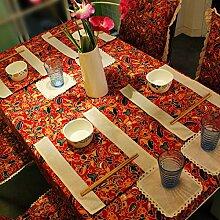 X&L Chinesische rote festliche Tischdecke Tischfahne Tischdecke für Party-Hotel zu Hause Picknick Bankett , 90*90