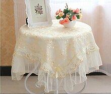 X&L Europäische Stickerei-Spitze-Tischdecke Kaffeetischtuch Staubschutz Multi Abdeckung Tuch für House Hotel Restaurant-Party , 110*110cm