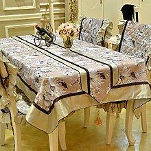 X&L European - Style ländliche frische Haushalt Tabelle Tuch Tisch Handtuch dekoriert Jin Di Polyester Baumwolle Jacquard Seide drei - Kantenfarbe , pink , 130*180