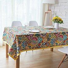 X&L Exotische ethnischen Stil Tischdecke Quadrat Tuchabdeckung Baumwolle Thai Tisch für Tischdecken für Hotel Familienpicknick Bankett , 130*180cm