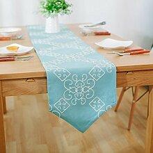X&L Gestickte pastoralen Stickerei Tabelle Tabelle Fahnentuch moderne einfache TV-Schrank bedeckt Tuch Bett Flagge Tischfahne , 30*220