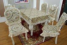 X&L High - Grade pastorale Polyester Haushalt Tisch top Tischdecken vier Jahreszeiten neue Präzision Jacquard Nachahmung bestickte Tisch Handtuch , beige , 110*110