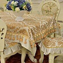 X&L Hoch - Ende europäischen Continental-Polyester Goldfolie europäischer Tisch Tuch Tischdecke , white , 90*90