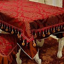 X&L Hoch - Ende europäischen Continental-Polyester Goldfolie europäischer Tisch Tuch Tischdecke , red , 140*180