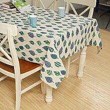 X&L Japanische grüne Blatt Baumwolle und Leinen Tischdecke Dekoration Restaurant Stoff Wohnzimmer Tisch Tuch abdecken Tuch Tischdecke für Party Haushalt Bankett Picknick , 140x200cm