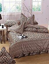 X&L Mode Leopardkorn, High-End-Voll Baumwolle reaktiven Druck Streifen moderne Bettwäsche-Set 4-teilig, Voll- / Queen-Size